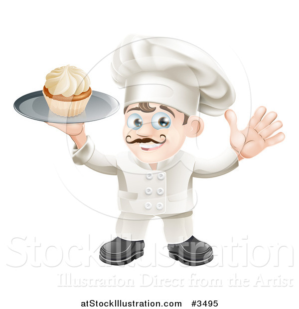Vector Illustration of a Happy Baker Holding a Cupcake on a Platter