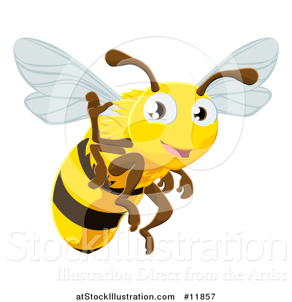 Vector Illustration of a Happy Bee Flying and Waving