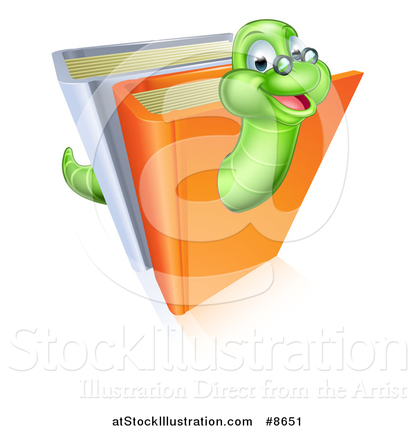 Vector Illustration of a Happy Bespectacled Green Earthworm Emerging from Books