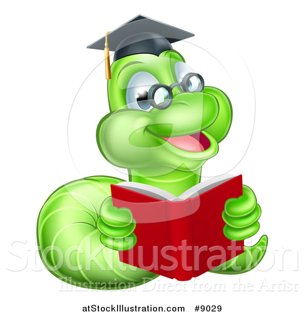 Vector Illustration of a Happy Bespectacled Green Professor or Graduate Earthworm Reading a Red Book