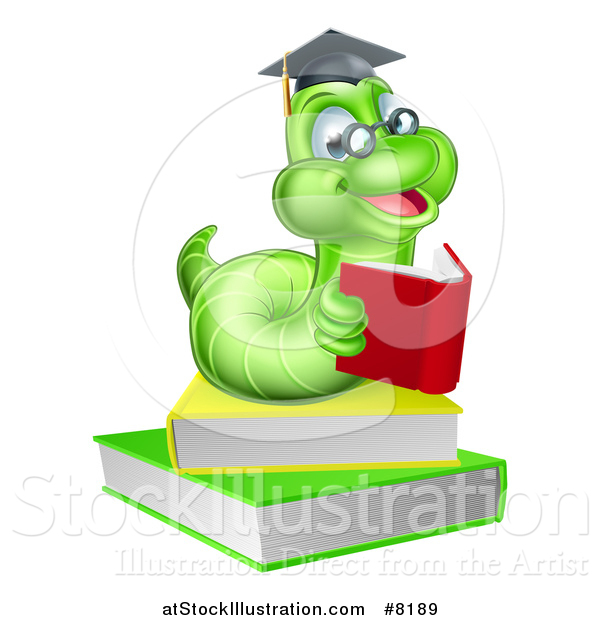 Vector Illustration of a Happy Bespectacled Green Professor or Graduate Earthworm Reading on Books