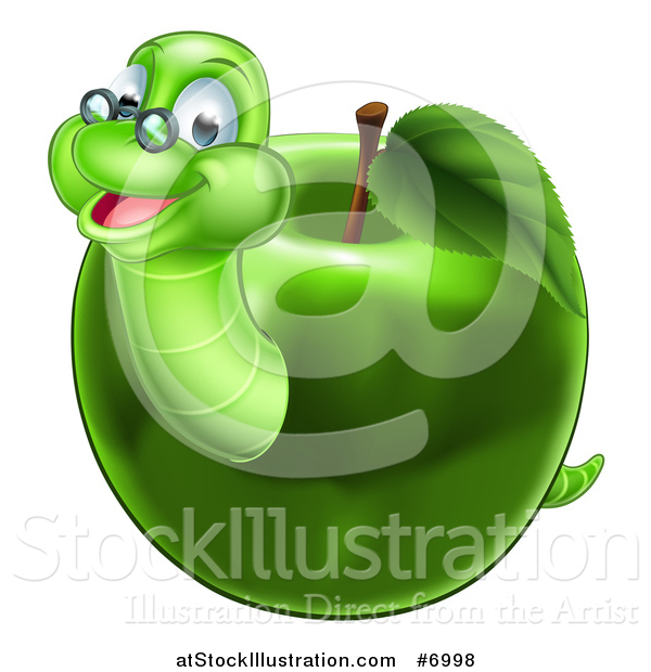 Vector Illustration of a Happy Bespectacled Worm Emerging from a Green Apple