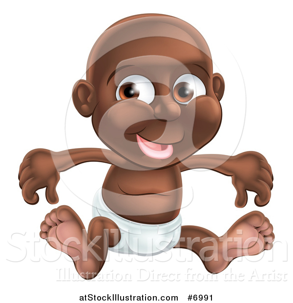 Vector Illustration of a Happy Black Baby Boy Sitting in a Diaper