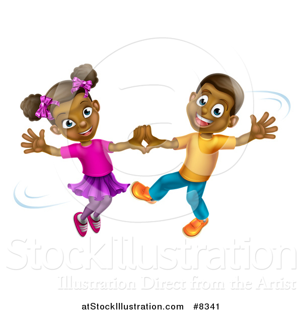 Vector Illustration of a Happy Black Boy and Girl Dancing