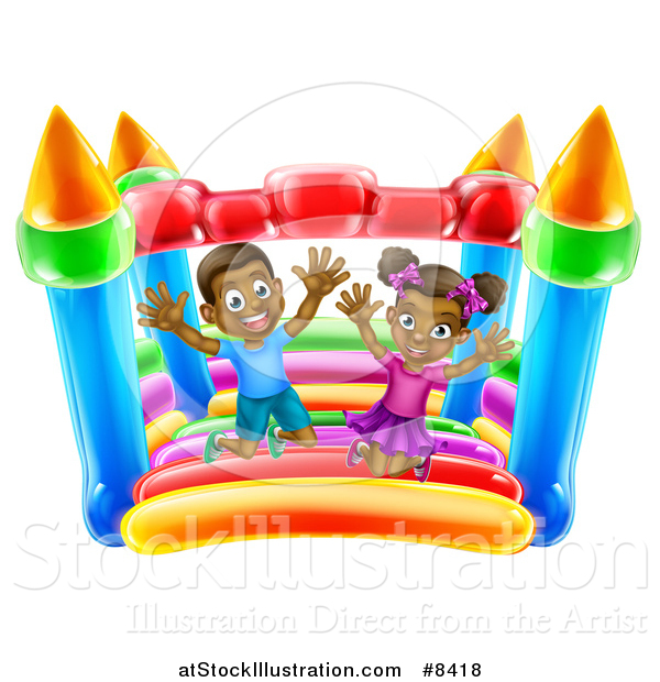 Vector Illustration of a Happy Black Boy and Girl Jumping on a Bouncy House Castle at a Party