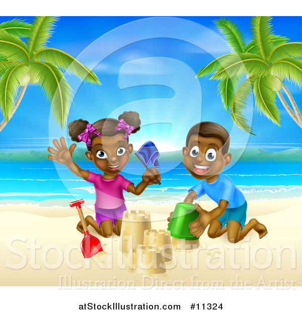 Vector Illustration of a Happy Black Boy and Girl Playing and Building a Sand Castle on a Tropical Beach