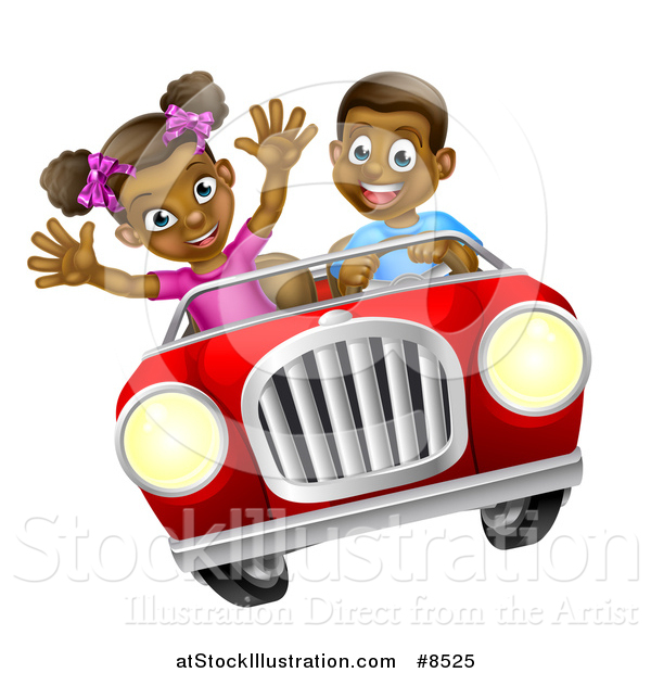 Vector Illustration of a Happy Black Boy Driving a Girl in a Red Convertible Car