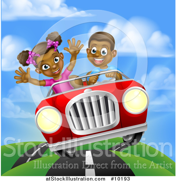 Vector Illustration of a Happy Black Boy Driving a Girl in a Red Convertible Car, on a Country Road