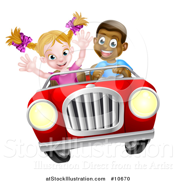 Vector Illustration of a Happy Black Boy Driving a Red Convertible Car and a White Girl Holding Her Arms up in the Passenger Seat As They Catch Air