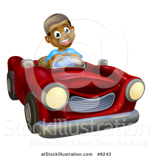 Vector Illustration of a Happy Black Boy Driving a Red Convertible Car