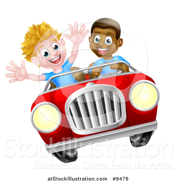 Vector Illustration of a Happy Black Boy Driving a White Boy and Catching Air in a Convertible Car