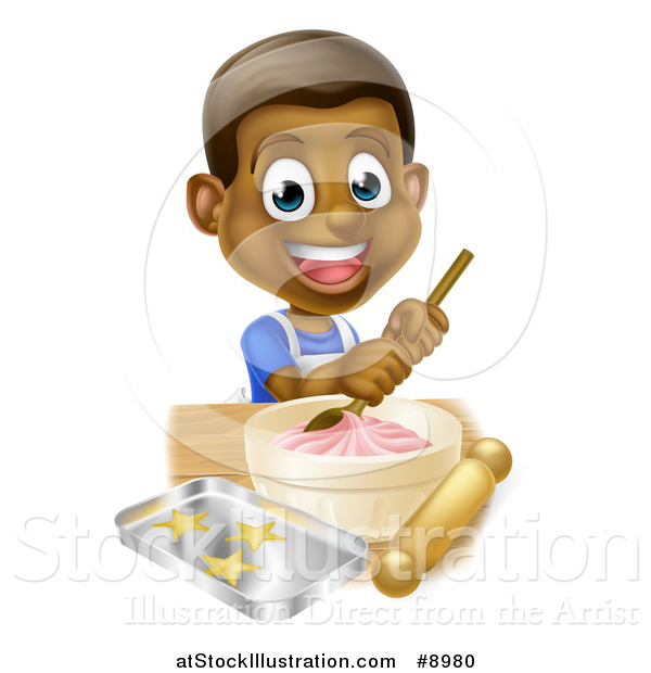 Vector Illustration of a Happy Black Boy Making Frosting and Cookies