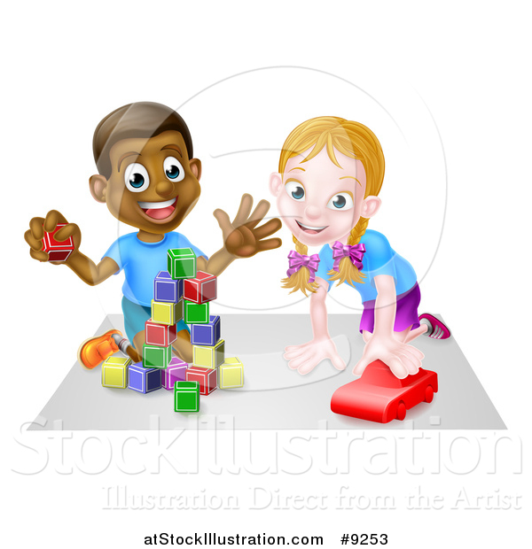 Vector Illustration of a Happy Black Boy Playing with Blocks and White Girl Playing with a Car