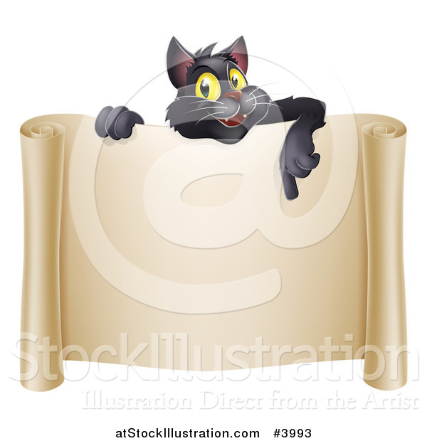 Vector Illustration of a Happy Black Cat Pointing down over a Scroll Sign