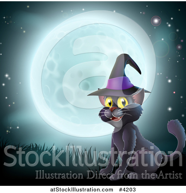 Vector Illustration of a Happy Black Cat Wearing a Witch Hat and Sitting Against a Full Moon