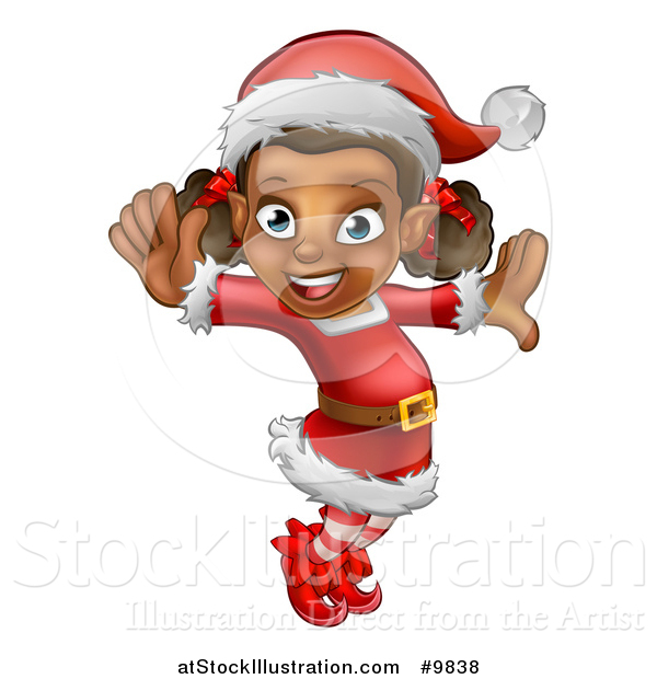 Vector Illustration of a Happy Black Female Christmas Elf Jumping or Dancing