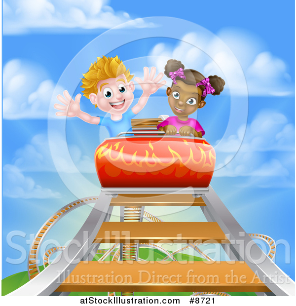 Vector Illustration of a Happy Black Girl and White Boy on a Roller Coaster Ride, Against a Blue Sky with Clouds