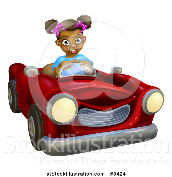 Vector Illustration of a Happy Black Girl Driving a Red Convertible Car