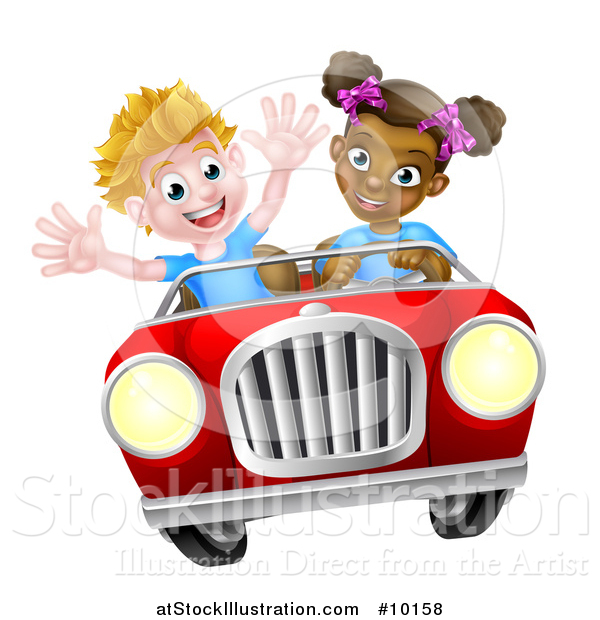 Vector Illustration of a Happy Black Girl Driving a White Boy and Catching Air in a Convertible Car