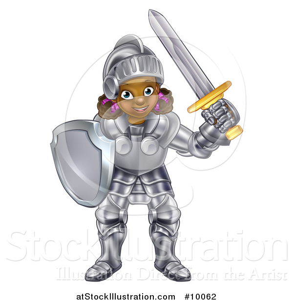 Vector Illustration of a Happy Black Girl in Full Knight Armour, Holding a Shield and Sword