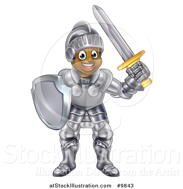 Vector Illustration of a Happy Black Male Knight in Full Armor