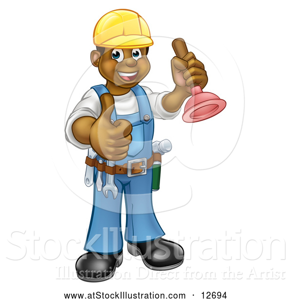Vector Illustration of a Happy Black Male Plumber Posing with a Plunger and Giving a Thumb up