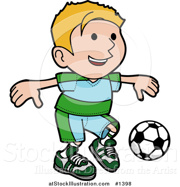 Vector Illustration of a Happy Blond Boy Ion a Blue and Green Uniform Kicking a Soccer Ball During a Game