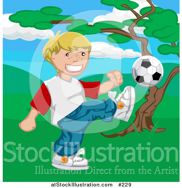 Vector Illustration of a Happy Blond Boy Kicking a Soccer Ball