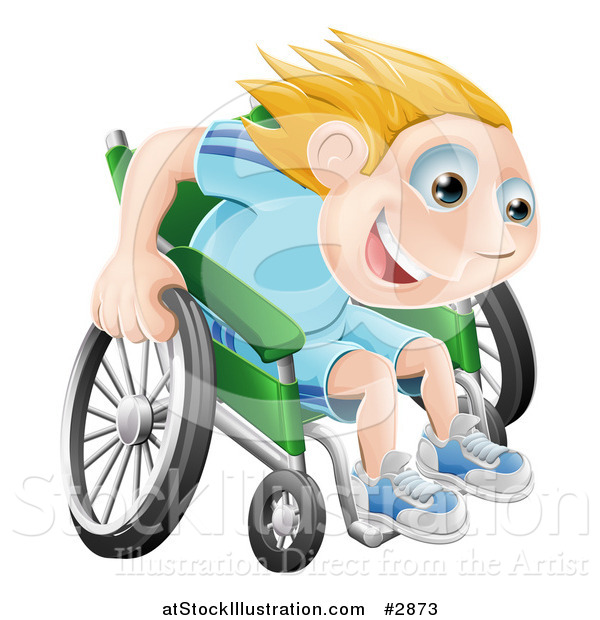Vector Illustration of a Happy Blond Boy Racing Fast in His Wheelchair