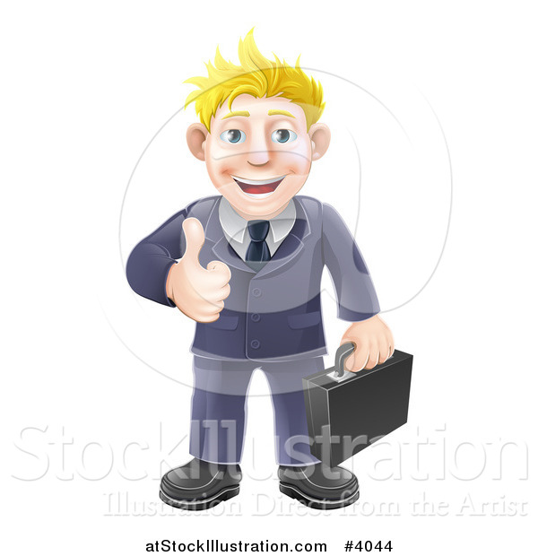 Vector Illustration of a Happy Blond Businessman Holding a Thumb up