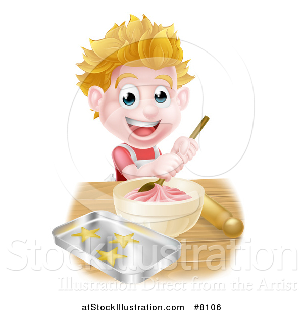 Vector Illustration of a Happy Blond Caucasian Boy Making Frosting and Baking Cookies