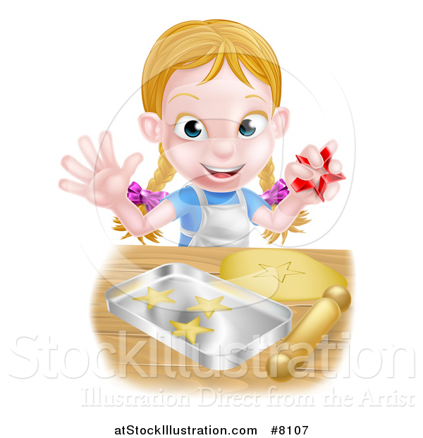 Vector Illustration of a Happy Blond Caucasian Girl Baking Cookies and Holding a Cutter