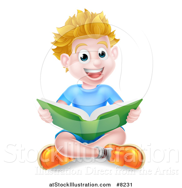 Vector Illustration of a Happy Blond Caucasian School Boy Reading a Book on the Floor