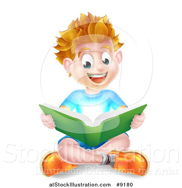 Vector Illustration of a Happy Blond Caucasian School Boy Reading a Book on the Floor, with Magical Light