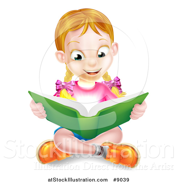 Vector Illustration of a Happy Blond Caucasian School Girl Reading a Book on the Floor, with Magic Glowing Lights