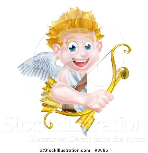 Vector Illustration of a Happy Blond Caucasian Valentines Day Cupid Holding a Gold Heart Arrow and His Bow Around a Sign