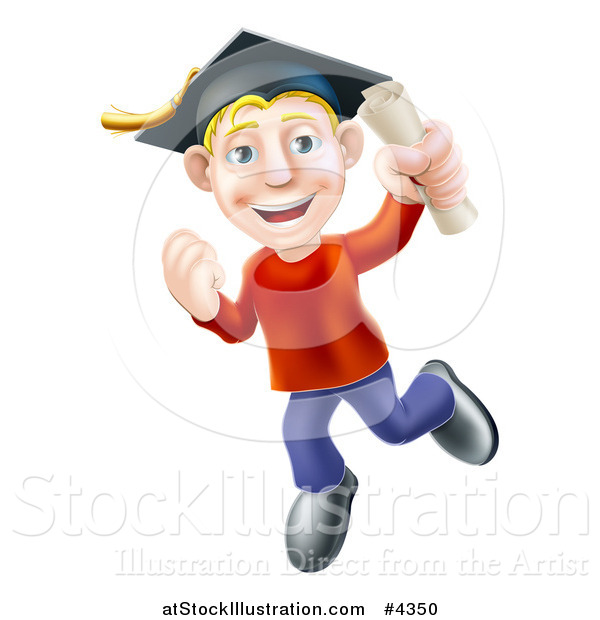 Vector Illustration of a Happy Blond Graduate Man Jumping with a Scroll in Hand