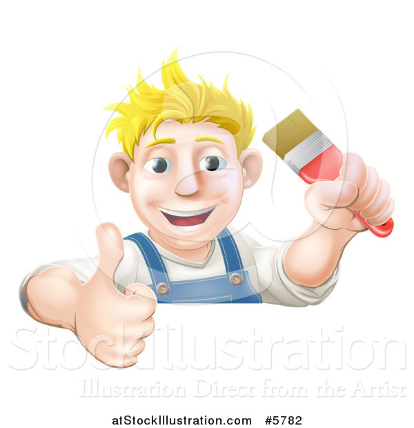 Vector Illustration of a Happy Blond Male Caucasian Painter Holding a Paintbrush and Thumb up over a Sign