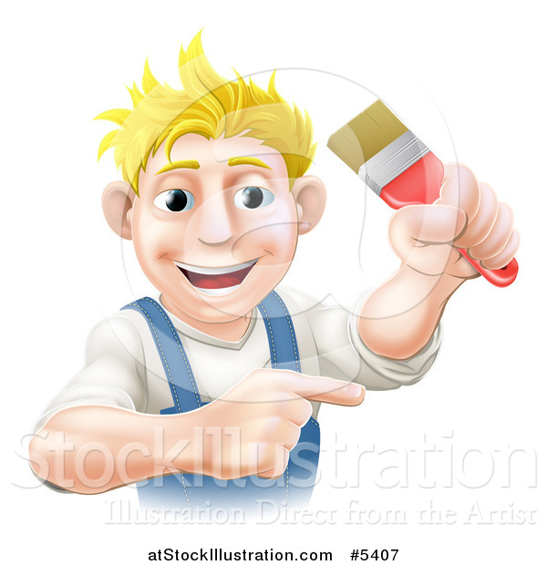 Vector Illustration of a Happy Blond Male Painter Holding up and a Brush and Pointing