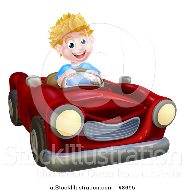 Vector Illustration of a Happy Blond White Boy Driving a Red Convertible Car
