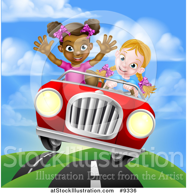 Vector Illustration of a Happy Blond White Girl Driving a Red Convertible Car with a Black Girl in the Passenger Seat on a Hilly Road