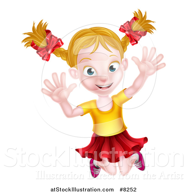 Vector Illustration of a Happy Blond White Girl Jumping Happily