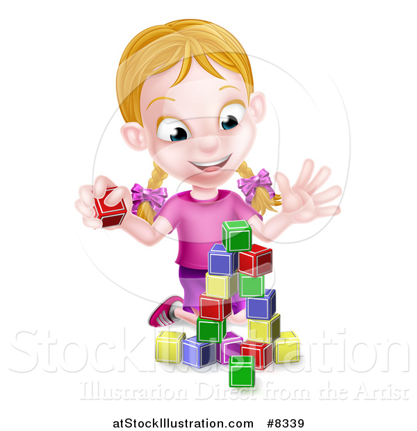 Vector Illustration of a Happy Blond White Girl Playing with Toy Blocks