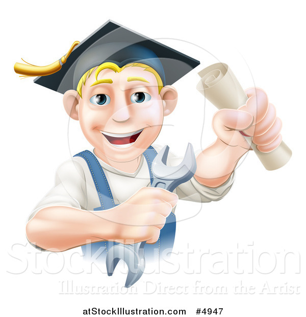 Vector Illustration of a Happy Blond Worker Graduate Holding a Wrench and Degree