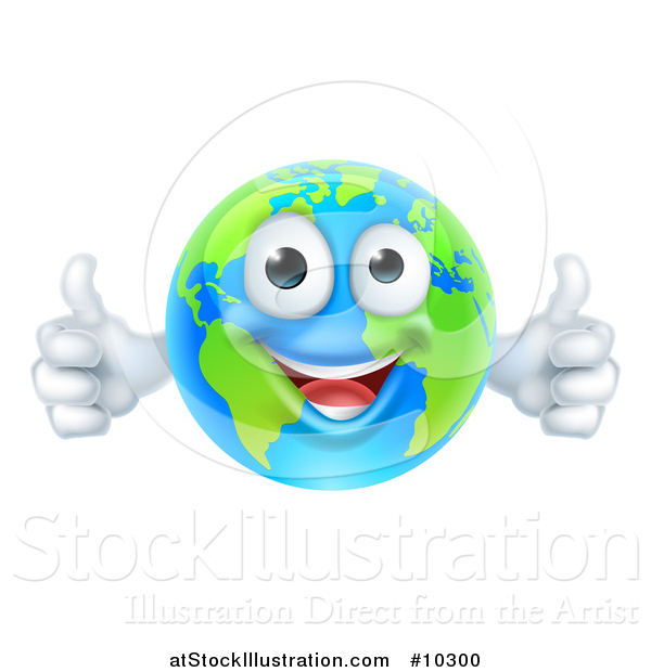 Vector Illustration of a Happy Blue and Green Earth Mascot Giving Two Thumbs up