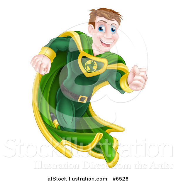 Vector Illustration of a Happy Blue Eyed Caucasian Male Super Hero Running in a Green Suit