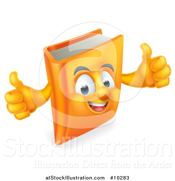 Vector Illustration of a Happy Book Character Giving Thumbs up