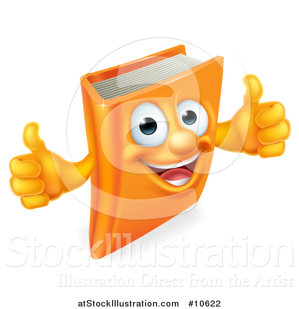 Vector Illustration of a Happy Book Character Mascot Giving Thumbs up