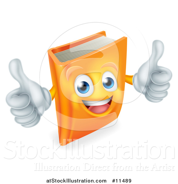 Vector Illustration of a Happy Book Character Mascot Giving Two Thumbs up