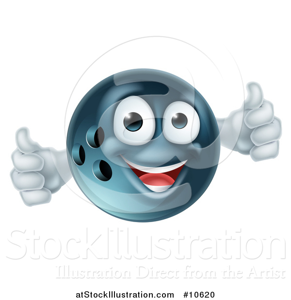 Vector Illustration of a Happy Bowling Ball Mascot Giving Two Thumbs up